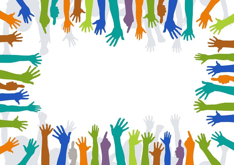 illustration af forskelligt farvede hænder